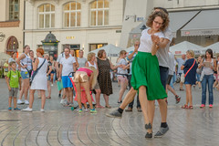 dancing in the street (stevefge) Tags: krakow poland people candid street dancing dance girl cobbles