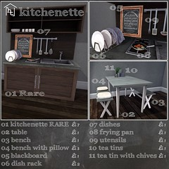 [ht:home] kitchenette - gacha key (Corvus Szpiegel) Tags: hate this hatethis ht home shiny shabby original mesh 09 2016 kitchen kitchenette gacha gatcha dish rag rack utensil tool material normal specular map table bench pillow blackboard black board frying pan ham egg eggs fried tea tin chive cupboard sink stove hearth modern industrial steel wood concrete sl secondlife second life