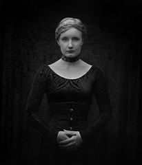 Hanna #5 (stephen.bjrck) Tags: mamiya rz67 sekor 140 macro 45 ilford fp4 kodak xtol analog film black white strobe octabox 6x7 medium format goth gothic girl blonde dress corset