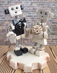 Commission: Robot Wedding Cake Topper traditional with rustic flair (HerArtSheLoves) Tags: wedding white cake silver square robot necklace dress handmade rustic tie gear tuxedo clay bow pearl chic flair topper thig keepsake shabby polymer