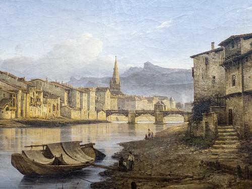 """Jean Achard (1807-1884) """"Vue de Grenoble depuis l'ancienne porte Saint-Laurent"""" (1837), dét., musée de Grenoble (Isère, France)"""