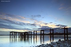 Old Jetty, Hawkcraig, Aberdour (SwaloPhoto) Tags: sunset abandoned clouds reflections coast scotland fife decay ruin coastal northsea derelict oldjetty firthofforth aberdour bythesea 24b hawkcraig leefilters canoneos5dmkii canontse24f35lii 0609gndh 06gndsreversed