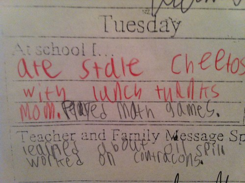At school I...ate stale Cheetos with lunch thanks Mom.