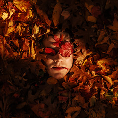 Burial (Zack Ahern) Tags: autumn light portrait sun leaves set self blood poem ray burial zack ahern