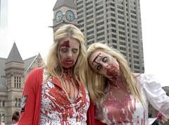barbie twin zombies (Mr.  Mark) Tags: red white toronto halloween photo costume scary twins funny downtown dress zombie walk crowd stock barbie makeup parade creepy eat gross brains blonde crawl 2012 torontozombiewalk markboucher