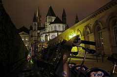 Day 53 - Una triestina in Normandia (cele bu) Tags: france church bicycle night lights europe charm spirituality normandy caen mistery lamplights abbayeauxhommes