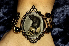Steampunk Goth Jewelry - Bracelet - Feline / Cat on Skull Cameo (Catherinette Rings Steampunk) Tags: art fashion cat skull feline jewelry bracelet cameo steampunk