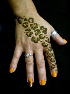 Leopard print hand