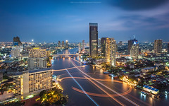 Bangkok Night (Weerakarn) Tags: city longexposure blue light tower modern landscape thailand twilight cityscape bangkok bluesky bluehour chaophrayariver  shangrilahotel bangkokskyscraper therivercondominium