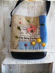 Trollius (monaw2008) Tags: flower bird cat recycled handmade linen lace fabric quilted denim patchwork applique reused upcycled monaw monaw2008