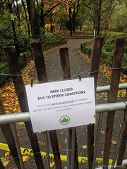 No autumn walk today (CVerwaal) Tags: nyc newyork centralpark olympus autumncolors autumninnewyork parkclosed olympustg1 hurricanesandy