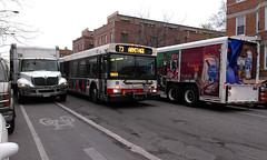 Both bike lanes blocked w/ bus (get directly down) Tags: chicago bus bike cycling dangerous cta blocked lane trucks block armitage bucktown lanes