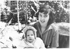 Mom and Krista (sjrankin) Tags: california mom edited scanned krista grayscale march1963 31october2012