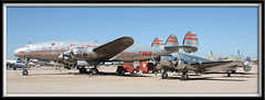 Classic pair (twm1340) Tags: arizona museum airplane tucson space aircraft aviation air transport az cargo historic pima collection connie beechcraft lockheed beech twa airliner constellation 2012 expeditor model18 pasm uc45j l049