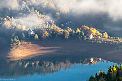 Zaovine Lake (Irene Becker) Tags: morning autumn trees reflection tree fall nature fog serbia autumnleaves hazy autumnfog balkan srbija jezero woter taramountain zaovine srpskoselo zaovinskojezero centralserbia mygearandme mygearandmepremium mygearandmebronze zaovinelake taranationalpark taraplanina заовинскојезеро imagesofserbia taranacionalnipark заовине novavezanja serbianlandscapes
