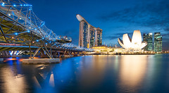 (kontroniks) Tags: bridge blue colors skyline bulb marina bay singapore long exposure cityscape angle wide lee hour helix sands filters gnd
