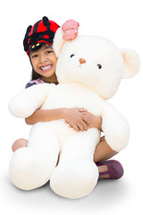 Pretty little girl hugging big bear (Patrick Foto ;)) Tags: bear portrait people woman baby white cute love home girl beautiful beauty smile face childhood animal female youth hair asian fun toy happy person kid stuffed holding hug toddler pretty child play looking teddy little background small joy daughter young adorable happiness health thai lovely care cheerful joyful isolated caucasian