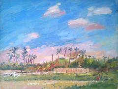 Luxor- a smallholding (tadeusz deręgowski) Tags: travel art painting landscape cityscape kunst egypt expressionism impressionism pintura egito realism impresionism pochade