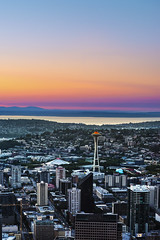 A Rainbow Sunset (RyanManuel) Tags: seattle city sunset colors washington rainbow architechture downtown pacific northwest queenanne vibrant belltown magnolia wa spaceneedle pugetsound olympicnationalpark olympicmountains