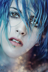 Close to the stars (Megan Glc Photographe) Tags: stars bokeh light self selfportrait portrait eyes blue hair bluehair nude girl piercing fairy surreal sad fantasy woman poetic sadness beauty