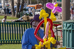 Clown - Santa Monica Pier (Patrick Gregerson) Tags: 2011 california canon7d santamonica balloon beach bokeh clown hat makeup male people person pier portrait street vacation