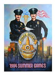 LAPD 1984 Olympics Abel Reynoso (abelreynosoart) Tags: police lapd 1984 olympics cops abel reynoso badge officers losangeles painting art acrylics abelreynoso summer games