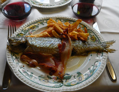 The trout & bacon from the 'Menu del dia' in Pido, Spain (albatz) Tags: spain northernspain picosdeeuropa restaurant menudeldia pido threecourse meal troutandbacon village