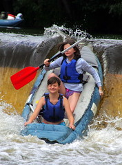 23.8.16 Vyssi Brod Weir 213 (donald judge) Tags: czech republic south bohemia vyssi brod weir boats rafts canoes river vltava