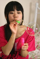 Big Or Small, Narrow Or Wide (emotiroi auranaut) Tags: girl nice cute adorable sweet innocent innocence lovely charm charming blowing bubbles face hair shirt tube bottle blow breathe breathing gentle gently round circle air small big play playing playful analogy teen teenage teenager asia asian japan japanese talent talented skill skilled skillful
