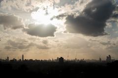 Solitary Walk - II (photosam) Tags: london england unitedkingdom fujifilm xe1 fujifilmx raw lightroom xc50230mm14567ois xc50230mmf4567ois newcross telegraphhill southlondon dusk telephoto highrise skyline evening 50mm