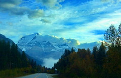 Mount Robson Provincial Park, BC (peggyhr) Tags: peggyhr thegalaxy mountrobson clouds trees snow sky autumn level1photographyforrecreation niceasitgets~level1 thegalaxyhalloffame