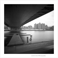 All calm under the bridge (jasoncremephotography) Tags: hasselblad 903swc mediumformat 120mm 120film 120 longexposure nd110 water river ilford hp5 hc110 dilutionb selfdevelopment 6x6 blackandwhite monochrome biogon zeiss taipei taiwan asia bridge film analog istillshootfilm