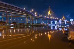 Bhumibol Bridge (TOYTOMORN) Tags: nikon nikond610 landscape landscapes blue longexposure light dslr ff fx fullframe photo photography photographer nightphoto wide wideangle weatherphoto bluehour reflex bridge building tamron thai thailand tamron1530 lightnight lights citylight cloud outdoor colour city river sunset color colorful scene bangkok water waterfront sky skyline architecture afterdark asia angle asian amateur 15mm 1530 d610 d600 dawn dusk view nightscape nightscene nighttime night pics rain cityscape stormyday clouds dream