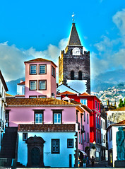 Old Town, Funchal, Madeira - Portugal (Craig Greenwood) Tags: old city travel pink blue houses columbus red portrait white holiday streets history home portugal landscape 50mm town nikon worship europe flickr bright vibrant famous scenic eu chapel historic september sharp clear stunning napoleon colourful nikkor dslr capture oldtown madeira hdr 1700s funchal 2012 1600s zarco blandys ehanced d3100 me2youphotographylevel2 me2youphotographylevel1