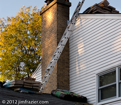 Getting a New Roof I (Jim Frazier) Tags: morning autumn houses homes roof chimney people house building fall window sunrise work dawn illinois workers construction october shingles bricks working sunny bluesky structure il effort ladder batavia kanecounty kane residential magichour q3 goldenhour professionals roofing 2012 contractors ldoctober ©jimfraziercom ld2012 wmembed