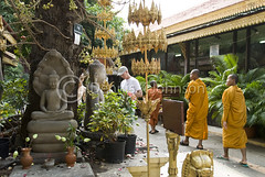 Monks at Royal Palace Phnom Penh (dkjphoto) Tags: travel silver garden temple pagoda hall asia cambodia southeastasia king khmer buddha stupa buddhist capital royal monk palace tourist phnompenh throne royalpalace kampuchea norodom dennisjohnson
