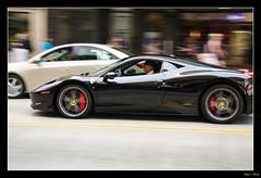 Black Ferrari (Hazim Macky) Tags: red black car speed focus traffic ferrari shutter brakes driver