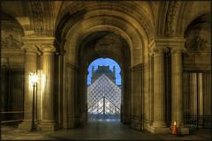 Le Louvre (Scape) Tags: blue light sunset paris france tourism museum night twilight pyramid louvre entrance musee hour lumiere nuit pyramide hdr crepuscule tourisme heure bleue entree