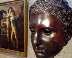 This exhibit contrasts great art, here we have ancient Rome next to 18th century Britain. (austin tx) Tags: texas fortworth oiloncanvas kimbell theallenbrothers henryraeburn romancastbronze headofanathlete