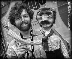Fringe2012 - Puppeteer from 'The Road That Wasn't There' , High St, Royal Mile, Edinburgh City, Scotland UK (Hotpix [LRPS] Hanx for 1.5M Views) Tags: road street new city light bw white man black monochrome st tattoo that scotland high edinburgh flat theatre puppet royal august fringe maggie zealand cap nz there trick mile wasnt zealander fringe2012 roadthatwasntthere