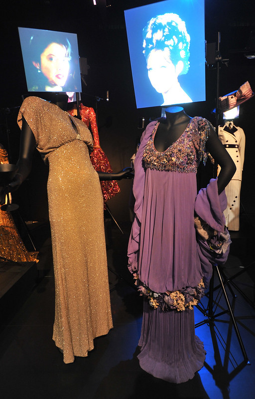 (L) Bugsy - Anette Bening as Virginia Hill; (R) Funny Girl - Barbara Streisand as Fanny Brice Hollywood Costume - press view held at the Victoria and Albert Museum. London, England - 17.10.12 Daniel Deme/WENN.com