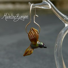 Brown Bird Earrings (madelinebunyan) Tags: brown bird glass birdie silver flying beads wings handmade flight earring sterling earrings lampwork birdies birdy sterlingsilver lampworked