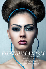 Posthumanism (Bojan Janjic) Tags: camera light woman white black sexy art nature beauty face fashion lady umbrella hair photography eyes nikon technology legs spirit young makeup style cable lips vogue future hairdresser electro neo conceptual tamron hitech fit styling hairdress posthumanism d90 sb26 strobist 1750mm neoconceputalism