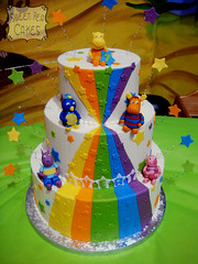 Backyardigans 1st Birthday Cake (Sweet Pea 0613) Tags: rainbow colorful birthdaycake fondant buttercream backyardigans backyardiganscake