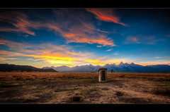 Little Outhouse on the Prairie (scott masterton) Tags: park travel light sunset vacation usa mountains scott hole pentax farm district grand row jackson historic flats national antelope homestead mormon wyoming teton outhouse fascinating masterton moulton sigma1020mm k200d