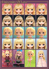Neo Blythe: Comparison of University Of Love (UOL), Margo Unique Girl (MUG), Prima Dolly Saffy (PD2S) and Midnight Spell (MS)