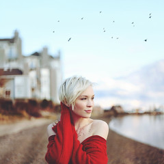 Sam and the Sea (Savannah Daras) Tags: ocean light sea house reflection beach home sunshine birds flying sweater spring sand warm natural candid maine knit peaceful pebbles calm condo shore shorthair chilly lightrays bareshoulders samcasey savannahdaras