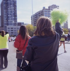 Woman Cheering (PhillipJackson) Tags: tlr film mediumformat fujichrome yashica chicagomarathon astia100f