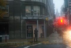 A boarded-up McDonalds in Lower Manhattan as Hurricane Sandy batters the city (juliacreinhart) Tags: nyc newyorkcity newyork storm rain weather flooding wind sandy hurricane stormclouds severe severeweather hurricanesandy