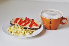 (asdrid) Tags: autumn food white coffee cheese breakfast bread pepper cafe sweden au sandwich astrid eggs mm lai latte 50 scrambled d90 katte nikkor50mm18 nikond90 ggrra broqvist asdrid